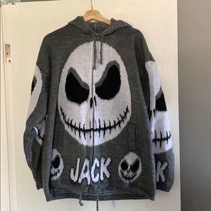 Wool Hooded zip up Jack Skellington Sweater